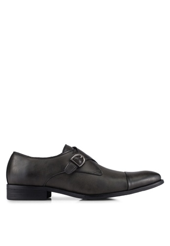 ZALORA black Faux Leather Single Monk Strap Dress Shoes 9199DAAED44DD3GS_1
