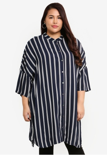 Only CARMAKOMA navy Plus Size Max 3/4 Shirt 87FE2AA8860F13GS_1