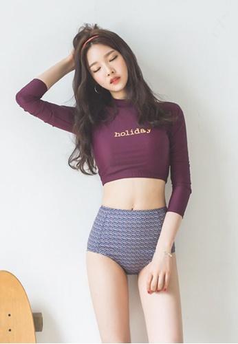 ZITIQUE multi Women's Korean Style Long Sleeve Two-piece Swimsuit - Multi 45130US5606CB4GS_1