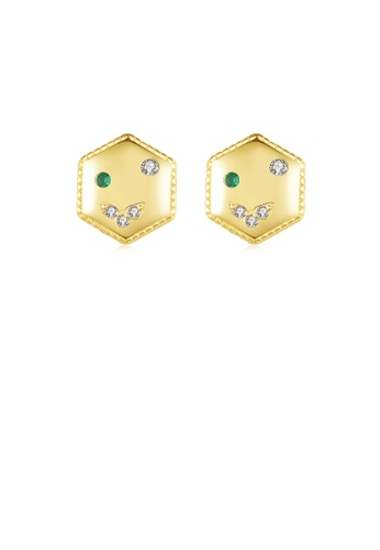 Glamorousky white 925 Sterling Silver Plated Gold Simple and Fashion Geometric Hexagon Stud Earrings with Cubic Zirconia 9AFEDAC710FC09GS_1