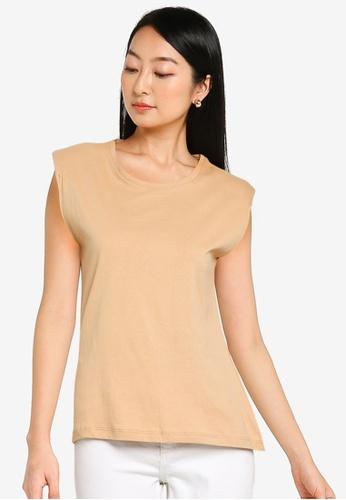 KOTON brown Padded Shoulder T-Shirt 88C22AA62A7C50GS_1