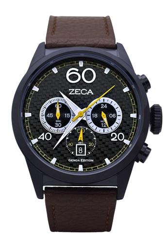 ZECA black and brown Zeca Watches Men Fashion Leather Analog - 240M Brown Black ZE260AC04SKDSG_1