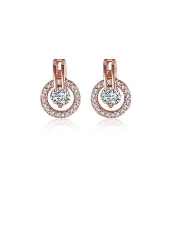 Glamorousky white Fashion Elegant Plated Rose Gold Geometric Round Cubic Zircon Earrings D63D7AC200B6E3GS_1