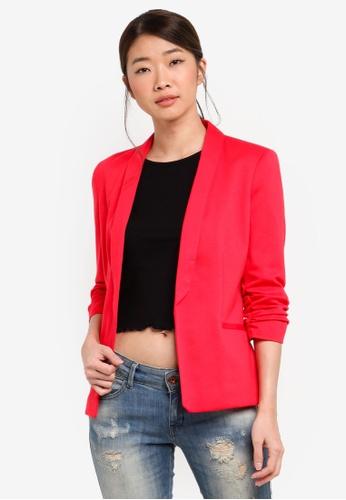 Miss Selfridge red Ruched Sleeve Ponte Jacket E28AAAA73947FEGS_1