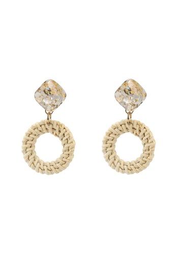 GLOBAL WORK white Marble Hoop Earrings FD764AC93C9AA3GS_1