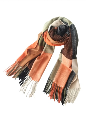 HAPPY FRIDAYS orange Imitation Cashmere Mix Color Checked Scarf JW JS-1210 CB0B5ACD7ADED7GS_1