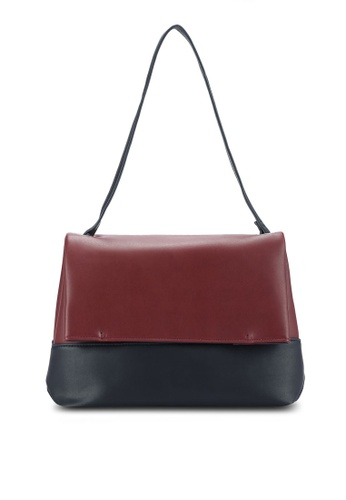 ZALORA red and navy Colour-Blocked Flap Shoulder Bag AAD95ZZCAF2CD7GS_1