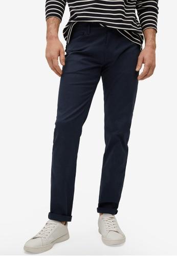 MANGO Man blue Slim Fit Denim-Effect Serge Trousers 85413AAC3343EBGS_1