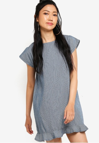 Something Borrowed blue Fluted Hem Denim Dress 1CDD5AAB6E6C66GS_1