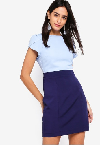 ZALORA blue and navy Petal Sleeves Color Block Dress 0FEC9AAC9F64FEGS_1