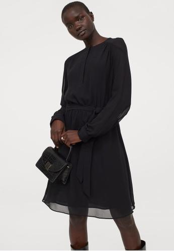 H&M black Chiffon Dress 4371BAA922A687GS_1