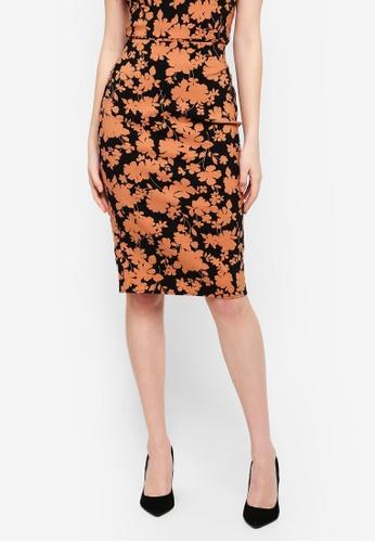 FORCAST black and multi Bria Pencil Skirt 0DEB0AA1B028D4GS_1
