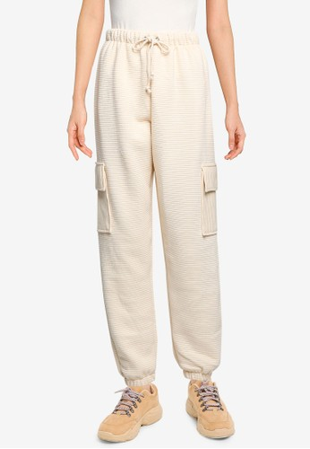 MISSGUIDED beige Ribbed Utility Pocket Joggers 22964AACAC5DFDGS_1