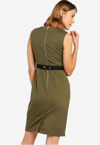 ZALORA 綠色 無袖短洋裝 B944FAA3329F3EGS_1