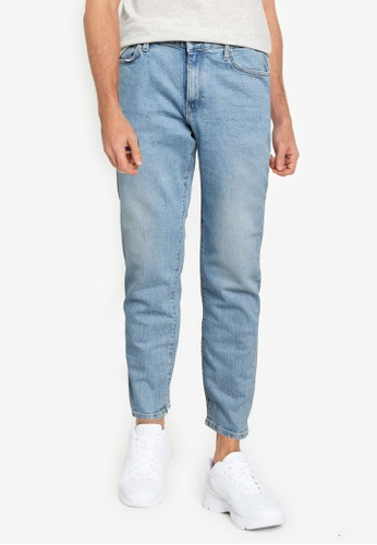 KOTON blue Classic Tapered Washed Jeans 930C8AA6E65D42GS_1