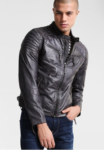 Gipsy 褐色 Chester經典款肩膀壓紋皮衣 GI565AA0ACP1TW_1