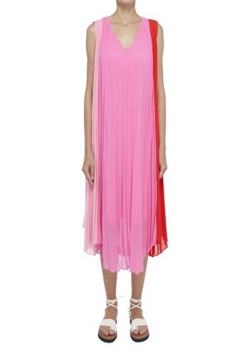 ck Calvin Klein pink SUNBURST PLEATED SLEEVELESS MIDI DRESS 14EA9AA2921F9BGS_1