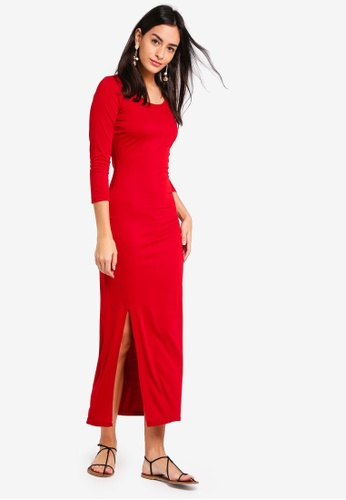 ZALORA BASICS red Basic Scoop Neck Maxi Dress With Slit 32EE5AA5CA09BAGS_1
