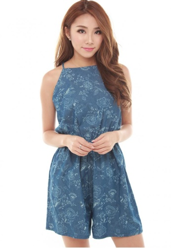Sophialuv blue Josie Floral Romper in Light Denim 3245FAA762E42BGS_1