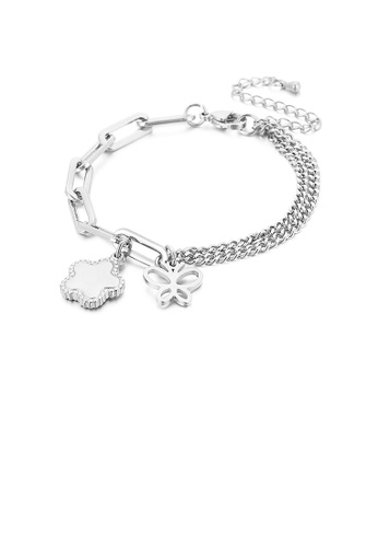 Glamorousky silver Fashion and Elegant Butterfly Flower 316L Stainless Steel Bracelet 59545AC294D7F9GS_1