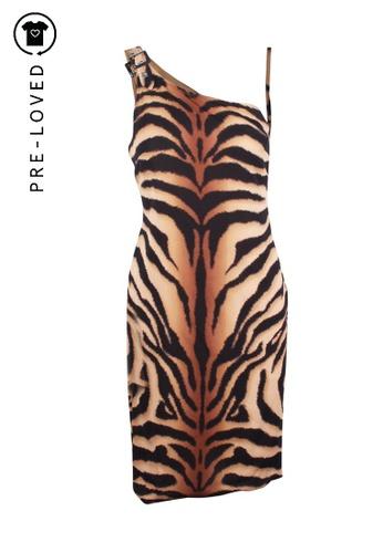 Versace multi Pre-Loved versace Animal Print One Shoulder Dress 86742AA47B960DGS_1