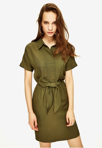 Hopeshow green Knot Front Shirt Mini Dress 46D23AAE8AA1AAGS_1