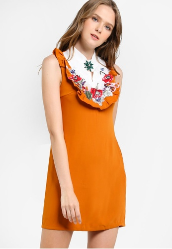 Megane orange Reine Shift Dress with Embroidery ME617AA10HGFMY_1