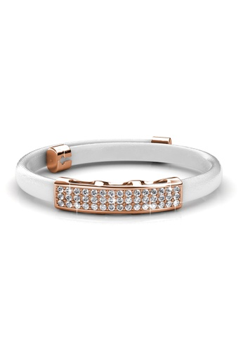 Her Jewellery gold Jill Leather Bracelet (White) - Made with premium grade crystals from Austria HE210AC71DMYSG_1