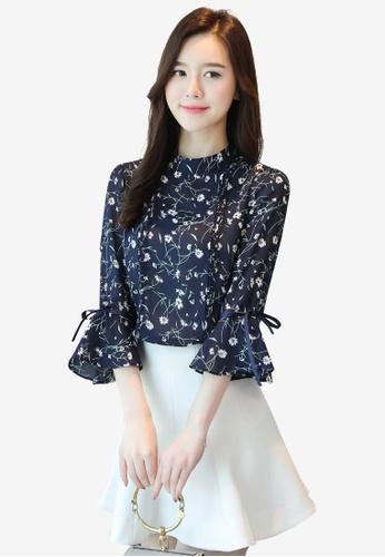 hk-ehunter blue High Neckline Printed Flare Sleeves Blouse 4B76FAA1726DFDGS_1