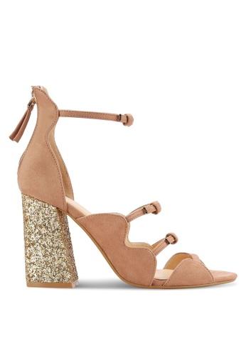 ZALORA beige Glitter Block Heel Sandals 33578SH2E7F2D5GS_1