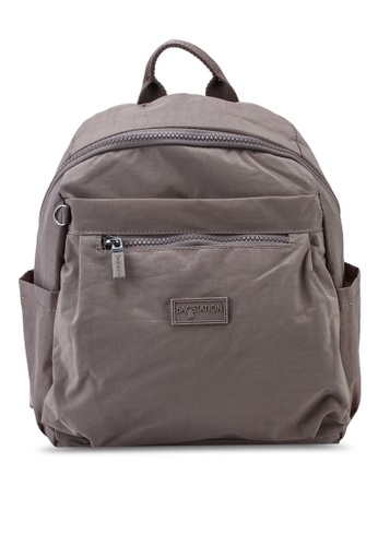Bagstationz brown Crinkled Nylon Small Backpack AFBC2AC9656A48GS_1