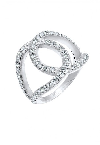 Elli Germany white Perhiasan Wanita Perak Asli - Silver Cincin Knot Crystal F3BB6AC6DC2D24GS_1