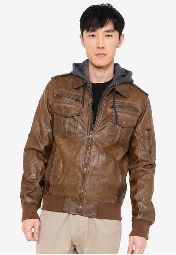 Indicode Jeans brown Aaron Hooded Faux Leather Jacket 5EF32AA450F6D3GS_1