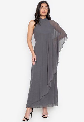 CIGNAL grey One Shoulder Mesh Gown 53219AA6419887GS_1