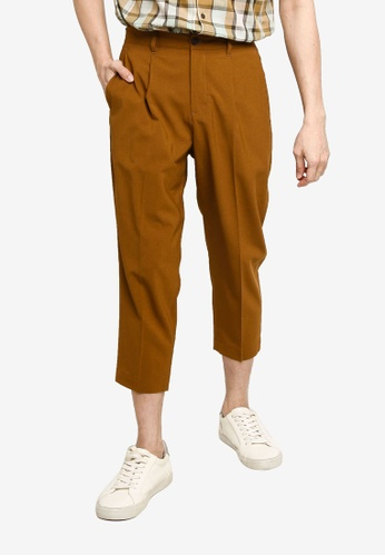 GLOBAL WORK brown Woven Cropped Trousers CFC97AABF6A690GS_1