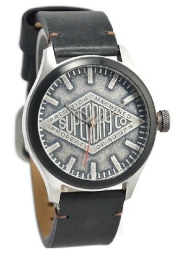 Superdry Jam Tangan Pria Hitam Leather Strap SYG177B