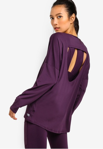 Running Bare purple Ritual Long Sleeve Workout Tee With Keyhole Back 0C08CAA37CA201GS_1