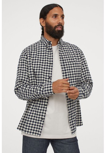 H&M blue Gingham checked flannel shirt 47F70AADA8A142GS_1
