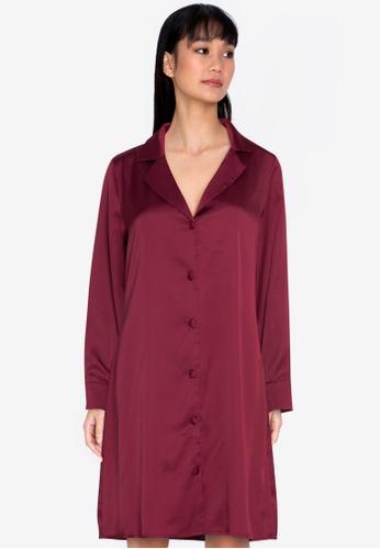 ZALORA BASICS red Satin Shirt Dress 07977AA9952CE3GS_1