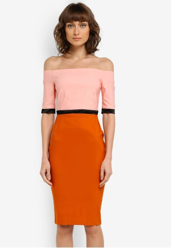 Vesper pink and orange Berdine Bardot Colourblock Midi Dress VE733AA0SM1XMY_1