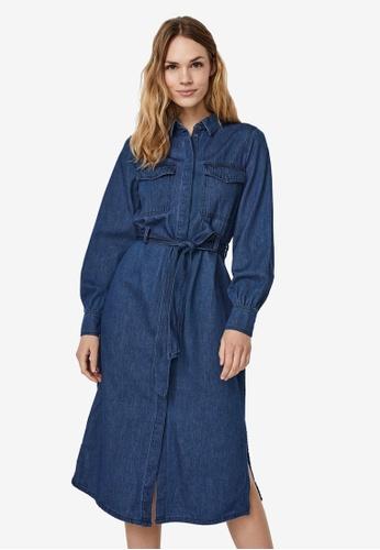 Vero Moda blue Teagan Ls 7/8 Denim Dress 6C6F6AA6F4796BGS_1