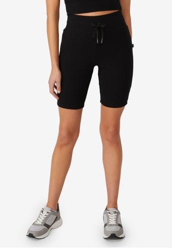 Cotton On Body black Lifestyle Rib Mid Length Bike Shorts 88F04AA9259431GS_1