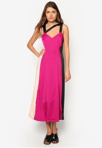 Hzalora 內衣ilgrove 色塊拼接連身長裙, 服飾, 及膝洋裝