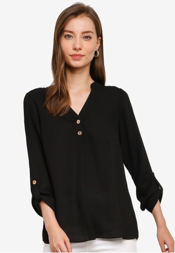 Dorothy Perkins black Black 2 Button Roll Sleeve Blouse 0F534AA8BE9686GS_1