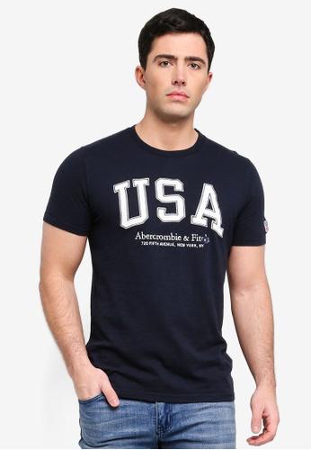 Abercrombie & Fitch 海軍藍色 刺繡T恤 E88DAAAA300B41GS_1