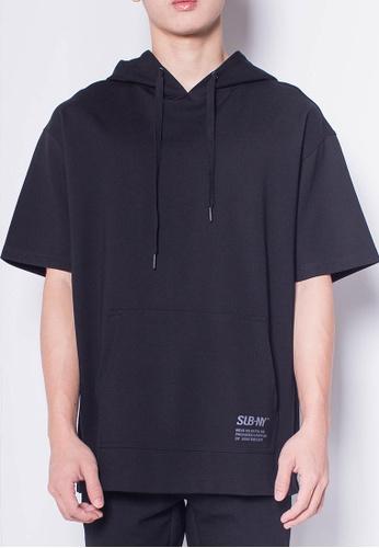SUB black Men Oversized Short Sleeve Sweatshirt Hoodie 971CFAAA18670BGS_1