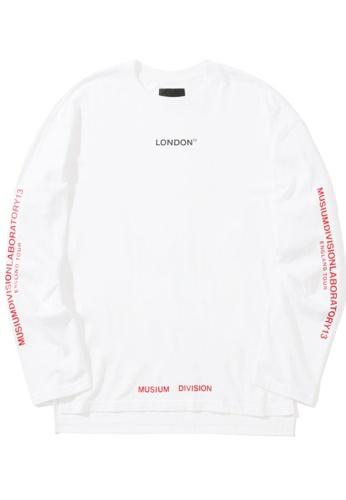 MUSIUM DIV white London slogan print long sleeve tee 40F12AA15B97BAGS_1
