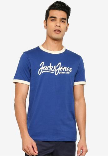 Jack & Jones blue Short Sleeves Print T-Shirt 5A561AAC54E0F2GS_1