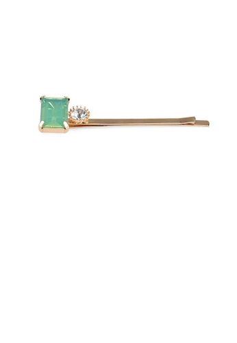 Glamorousky green Simple Fashion Plated Gold Green Cubic Zirconia Square Hair Clip 8884DACD748AE7GS_1