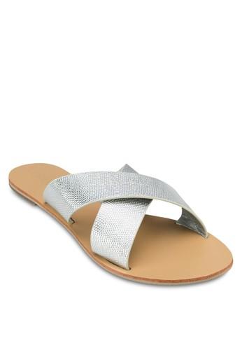 Mzalora taiwan 時尚購物網aiden 鵝卵紋交叉帶涼鞋, 女鞋, 涼鞋
